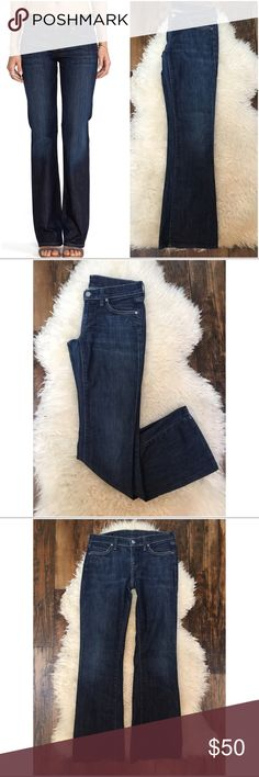 """Citizens of Humanity Pacific Dita Petite Jeans 26 Citizens of Humanity, Sz 26, in good used condition though some wear to heels. This can be seen in detail pic. Great fit! Style is Dita Petite Bootcut. Stretch-98% cotton, 2% elastan. Measurements- 14.25"""" across waist, 7"""" rise, 30.5"""" inseam. Anthropologie Jeans Boot Cut"""
