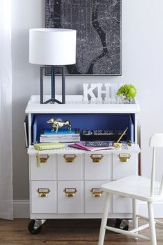 DIY Ikea Tarva dresser maekover to a rolling desk Hack Commode Ikea, Ikea Dresser Makeover, Ikea Tarva Dresser, Furniture Makeover, Desk Makeover, Dresser Desk, Functional Furniture, Diy Storage Furniture, Diy Furniture Projects