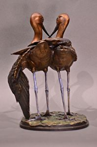 Side by Side - avocet pair in bronze, Jim Green sculptor