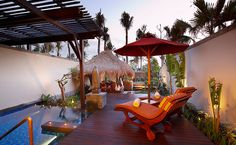 The pool, the high walls, the lounge chairs, the cabana. Perfect.