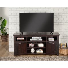 "Espresso Brown Pine 65"" TV Stand - Foundry 