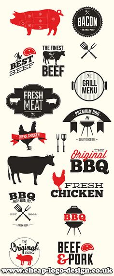 bbq and meat graphic logo design ideas www.cheap-logo-design.co.uk #meat #bbq #bbqlogos