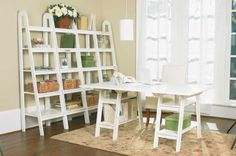 Office - Love the leaning shelf idea - already have the desk w/ saw horses.
