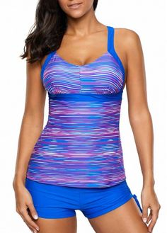 Blue Round Neck Printed Swimwear Top and Shorts | Rosewe.com - USD $24.89