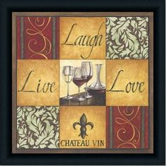 Com Live Laugh Love Wine Kitchen Country Decor Print Framed Home