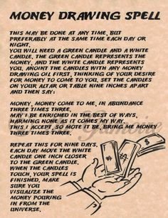 Money Drawing Spell for Book of Shadows, BOS, Occult, Metaphysical, Magic | Everything Else, Metaphysical, Wicca | eBay!
