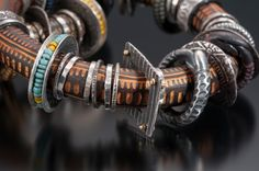 Carved Polymer Bracelet with PMC adornments By Celie Fago 2015