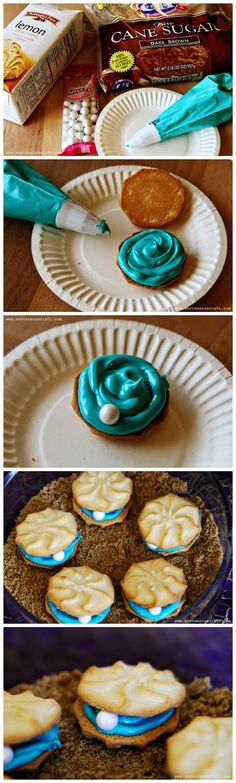 ocean oyster pearl cookies, for a ocean party or Ariel party :)