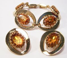 Vintage Amber Glass Rhinestone Jewelry Set by GretelsTreasures