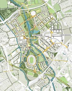Allies & Morrison: Masterplan for Stratford post. Urban Design Concept, Urban Design Diagram, Urban Design Plan, Plan Design, Landscape Plans, Urban Landscape, Landscape Design, City Skylines Game, Masterplan Architecture