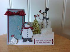 Stampin Up carte de Noël fait à la main - pas de côté deux bonhommes de neige avec des oiseaux