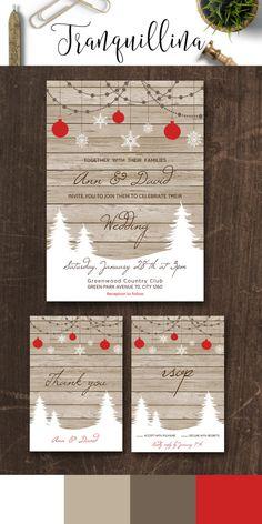Winter Wedding Invitation, Printable Wedding Stationery Set, Rustic Wedding Invitation, Digital File - Christmas Wedding Invitation - pinned by pin4etsy.com