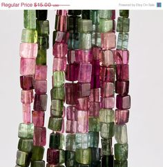 Watermelon tourmaline cube beads