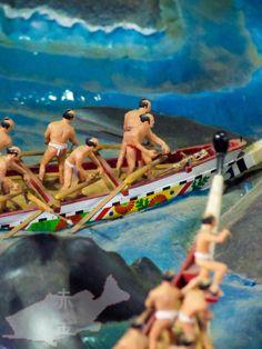 高知城に展示されていた昔のクジラ漁のジオラマが中々の迫力だった∥2014年2月アカジンジャーナル