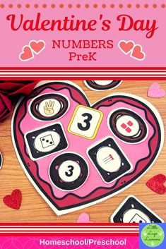 These Valentine& Day Number Lessons are the perfect addition for Math Centers for homeschool/ preschool. This time saving, leveled resource is en. Numbers Preschool, Preschool Activities, Number Activities, Toddler Learning, Toddler Activities, Valentine Theme, Valentines Day, Early Childhood Activities, Valentine Activities