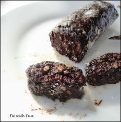 Salame di Cioccolato Fit Proteico Vegan e Gluten Free. Il più salutare che ci sia. Con zuccheri naturali della frutta, avena, cacao, nocciole. Provalo!