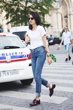25 Ways to Make Mom Jeans Look Modern - Leandra Medine (The Man Repeller) wearing a white t-shirt with cuffed mom jeans + shiny oxfords and a colorful scarf as arm candy—brilliant.  | StyleCaster