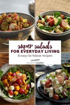 Super salads for everyday living - eight easy salad recipes for lunch or dinner. Salad Recipes For Dinner, Easy Salad Recipes, Easy Salads, Side Dish Recipes, Lunch Recipes, Side Dishes, Easy Meals, Healthy Recipes, Grape Recipes