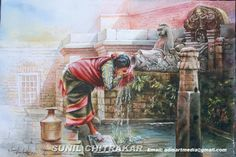 Drinking water - Creative Art in Painting by Sun Chitra at Touchtalent