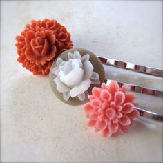 Floral Bobby Pin Set Coral Pink Bouquet  by PaganucciDesigns, $9.95