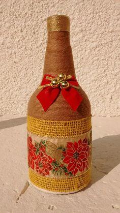 💕** Wine Craft, Wine Cork Crafts, Wine Bottle Crafts, Christmas Wine Bottles, Lighted Wine Bottles, Bottle Painting, Bottle Art, Burlap Crafts, Christmas Crafts
