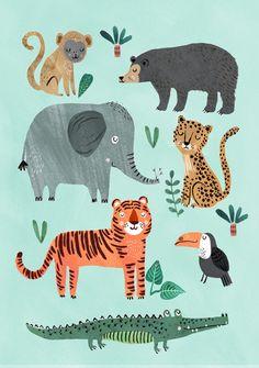 """""""Wild Animals"""" - Poster, illustriert von Rebecca Jones 50 x 70 cm gedruckt auf 200g/qm Seidenpapier 19,95"""