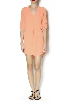 3/4 sleeve tangerine colored was it tie dress with pocket
