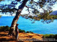 Gemile Beach, Fethiye Turkey. Bible vers written underneath Psalms 94:19