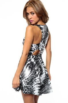657bfe606a Burnt Out Leopard Lazer Print Skater Dress   Cicihot sexy dresses