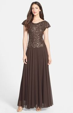 Free shipping and returns on J Kara Embellished Cowl Neck Gown at Nordstrom.com. Fluttery sleeves and a cowl neckline begin a lovely chocolate gown with elegant beading that glistens over the bodice. A drop-waist design that's flattering to all figure types ends in a floor-sweeping skirt of floaty chiffon.