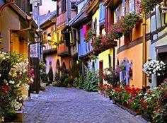 Love cobblestone streets except when wearing heels :) Cobblestone Street, Alsace, France