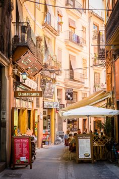 Spain Travel Inspiration - Street Cafe in Valencia, Spain Places Around The World, The Places Youll Go, Travel Around The World, Great Places, Places To See, Beautiful Places, Around The Worlds, Beautiful Streets, Alicante