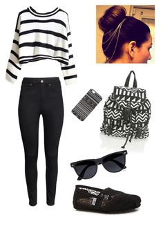 Universidad #3 by ymerly15 on Polyvore featuring polyvore fashion style H&M TOMS River Island With Love From CA clothing