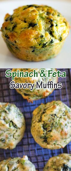 Spinach and Feta Savory Muffins Savoury Muffins Vegetarian, Savory Muffins, Healthy Muffins, Baking Muffins, Best Breakfast Smoothies, Savory Breakfast, Sausage Breakfast, Breakfast Recipes, Spinach And Feta Muffins
