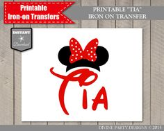INSTANT DOWNLOAD Printable Red Minnie Inspired Tia Iron On Transfer by DivinePartyDesign on Etsy