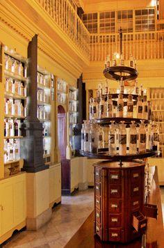 Farmacia Francesa Triolet  Museo Farmacéutico de Matanzas Cuba © 2012 Carlos Alberto Fleitas Calistoga Hotels, Matanzas Cuba, Cuba Pictures, Cuban Culture, Apothecary Bottles, Visual Merchandising, Architecture, Garden, Travel