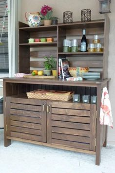Pottery Barn inspired Chesapeake Buffet, using Design confidential's plans with a few modifications. The top is inspired by the Pottery Barn Abbott Hutch. Built From These Plans:  Free Woodworking Plans to Build a PotteryBarn Inspired Chesapeake Buffet