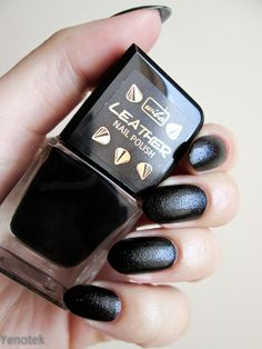 Wibo Leather Nail Polish nr 4 :) #nails #nail #manicure #black #leather #mani #manicure #piekne #dlonie #wibo #papierska