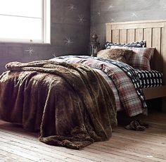 Moose sheets, plaid duvet and Luxe Faux Fur Bed Throw for master bedroom