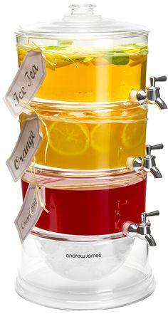 Andrew James - 3-fach Getränkespender mit Zapfhähnen 10,5 Liter / Saftspender/ Getränketurm - Mit Eisfach - Ideal für Partys, Veranstaltungen und Grillabende - 2 Jahre Garantie: Amazon.de: Küche & Haushalt
