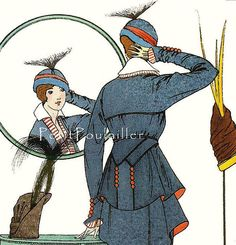 PetitPoulailler 1914 Vintage Fashion Lithograph From Journal des Dames et des Modes, Victor Lhuer, Pl 157 [detail]