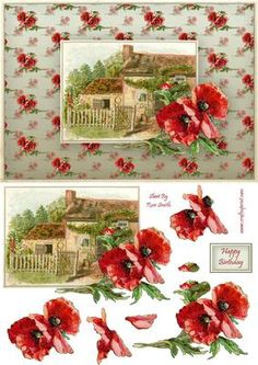 Poppy Cottage Quick Card on Craftsuprint designed by Russ Smith - A5 card front, greeting banner and decoupage layers, using a vintage painting of a countryside cottage with large red poppies. Matching backing available.  - Now available for download!