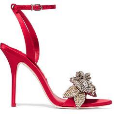 Sophia Webster Lilico crystal-embellished satin sandals ($895) ❤ liked on Polyvore featuring shoes, sandals, heels, red, strap heel sandals, embellished heeled sandals, high heel shoes, strappy sandals and flower sandals