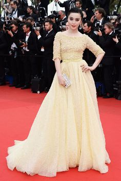 Fan Bingbing Yellow Embellished Half Sleeve Red Carpet Ball Gown Cannes 2013