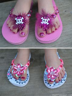 We want some of these super cute embellished flip flops from @The DIY Dreamer #summerofjoann #kidscrafts