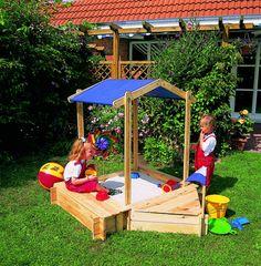 Beautiful Sandkasten Holz PROMADINO Peter Pan Dach Sitzbank Spielzeugkiste Sandkiste Viele M glichkeiten zum Spielen und Entdecken