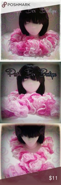 "NWOT!  Handmade ruffle scarf Be fashionably warm with this pretty ruffle scarf in shades of pink & white.  About 60"" long.  97% acrylic, 3% metallic polyester. Purple Box Boutique Accessories Scarves & Wraps"