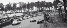 Eric Thomson doing some very dangerous panel beating Le Mans 1954