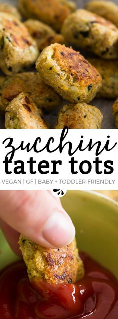 Don't know what to make with all the zucchini this summer? Try these homemade tater tots! They're made with mashed potatoes and shredded zucchini, only have 4 ingredients and are super easy to make with the kids! A great healthy recipe for a side dish or snack that's also baby led weaning and toddler friendly. They're vegan and gluten free, baked in the oven and I bet they'd even work great at a football party ;)
