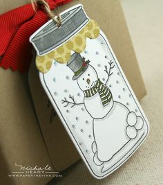Snowman in a mason jar card
